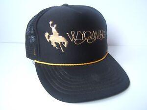 Details about Vintage Wyoming Hat Black Snapback Rope Trucker Cap