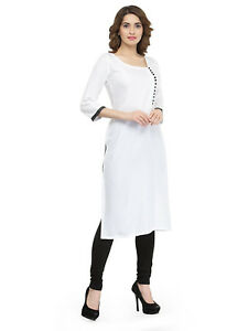 Women Long White Rayon Kurti Ethnic Kurta All Size S,M,L,XL, Plus ...