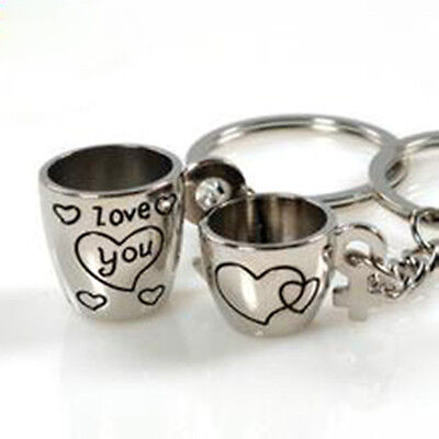 Cute 3D Love Cup Heart Pendant Key Chain Keyring Keychain Keyfob Lover Gift