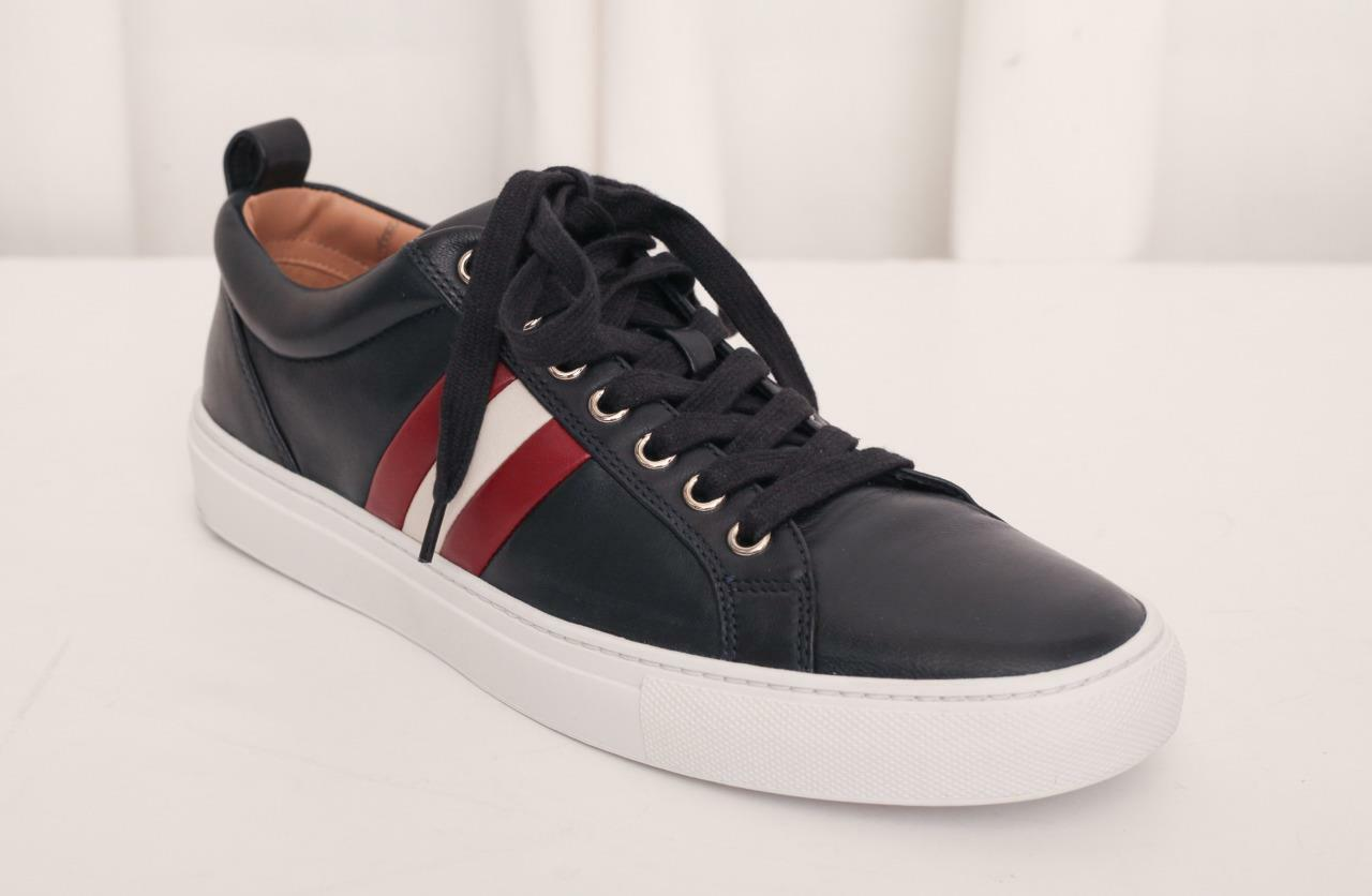 BALLY Uomo Navy HENDRIS Pelle Lace-Up Shoe  Trainer Athletic Shoe Lace-Up 8 NEW BOX 5e04b7