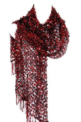 B69 Completo Lentejuelas Tejido Abierto Rojo y Negro Flequillos