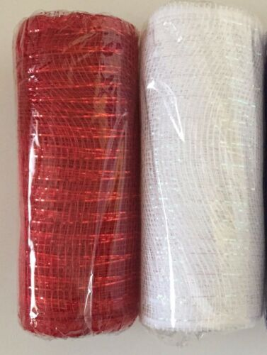 Lot of 2 Red /& White Combo ~ Wreath Deco Mesh Ribbon ~ 9 yds