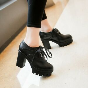 FASHION-Gothic-Womens-Ladies-Lace-Up-Ankle-Boots-Chunky-Heel-Platform-Punk-Shoes