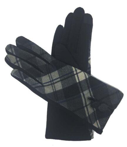 Les femmes hiver chaud fashion Poignet Gants thermique doublé tartan écran Tactile UK