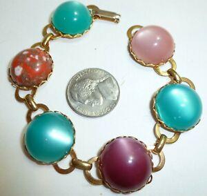 Details About Vintage Multi Colored Moon Glow Cabochon Art Gl Link 7 Inch Bracelet