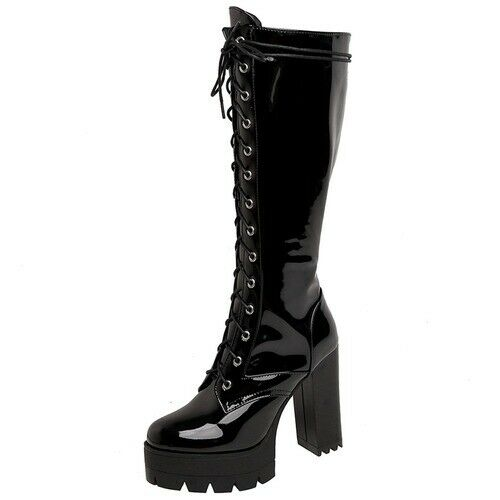 Details about  /Women Cool Shoelaces Motorcycles Boot Big Size 43 Square High Heels Shoes Boots
