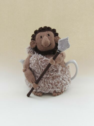 Caveman Tea Cosy Knitting Pattern to knit your own prehistoric tea cosy