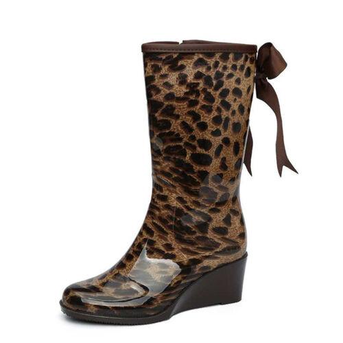 Womens Wedge Heel Mid-calf Rain Boots Bowknot Waterproof Rubber Shoes Zipper