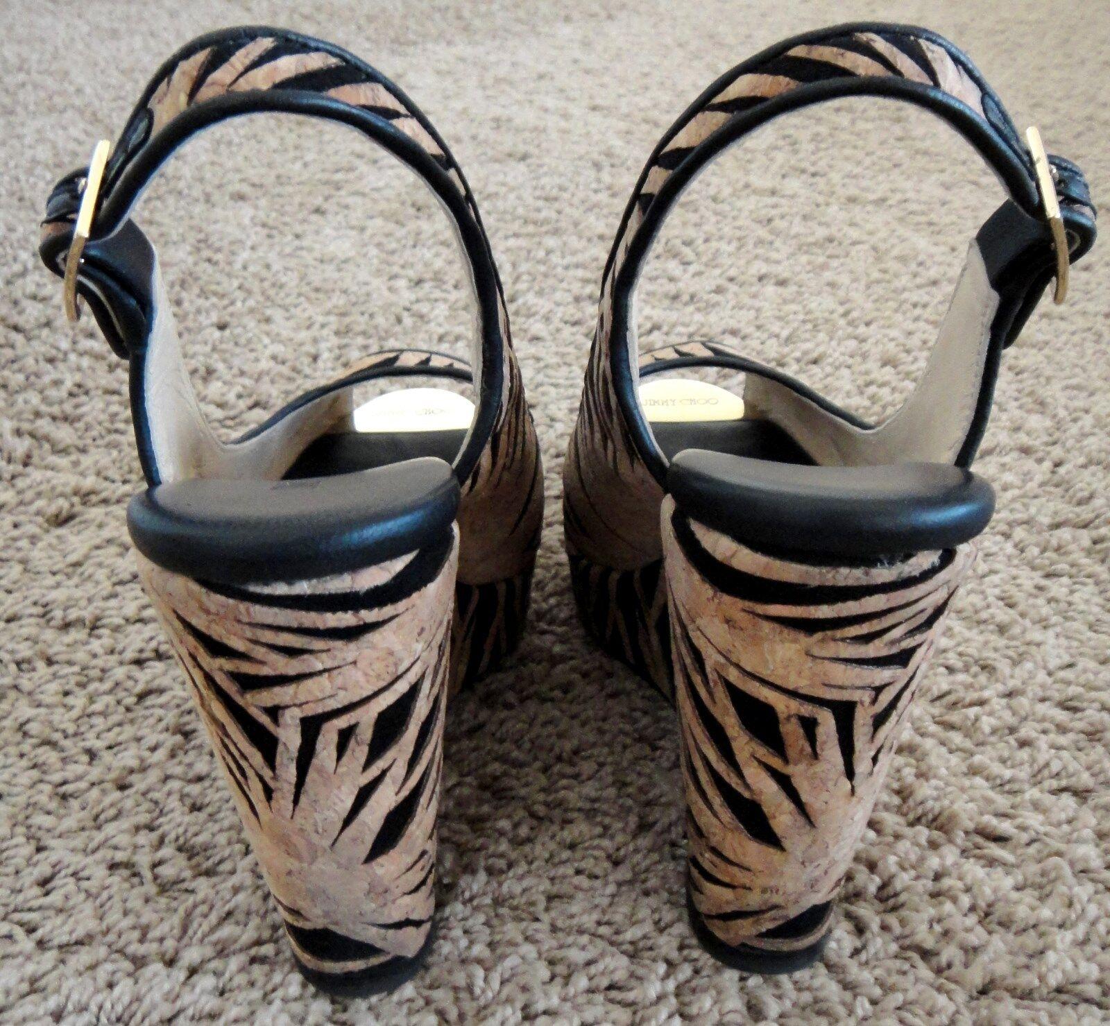 Jimmy Choo black tan laser cut cork suede slingback platform platform platform wedge heels 36 bdcec2