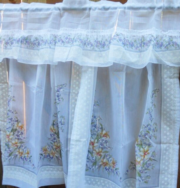 Kitchen windows valance or curtains collection on ebay vintage semi sheer kitchen curtains with valance yellow and purple flowers mightylinksfo