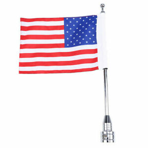 American USA Flag Pole Luggage Rack  Side Mount Motorcycle for Harley US STOCK