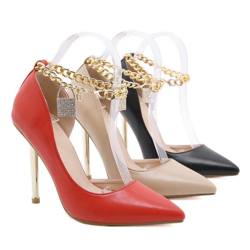 Women Pumps Rhinestone Chain Platform Stiletto High Heel Pointed Toe Dress Shoes