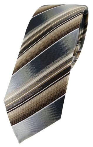 schmale TigerTie Designer Krawatte braun beige silber anthrazit grau gestreift
