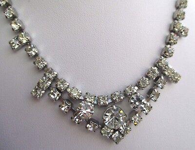 Ancien Collier Couleur Argent Rivière De Cristaux Diamant Bijou Vintage 3101