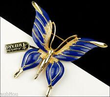 VINTAGE CROWN TRIFARI FIGURAL DARK BLUE ENAMEL BUTTERFLY INSECT BROOCH PIN 1960s