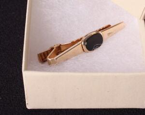 Vintage-Anson-Men-039-s-Gold-Tone-and-Black-Enamel-Tie-Clasp