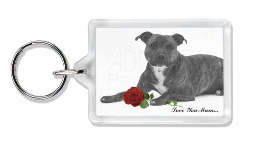 Staffie (B+W) Rose 'Love You Mum' Photo Keyring Animal Gift, AD-SBT6R2lymK