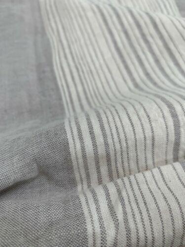 West ELM Coastal rayures Queen housse de couette seulement Frost Gray Cotton Linen