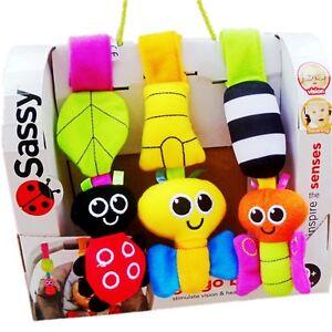 Baby-Child-Kid-Sassy-Soft-Rattles-Set-On-the-Go-Go-Bugs-Stroller-Pram-Buggy-Toy