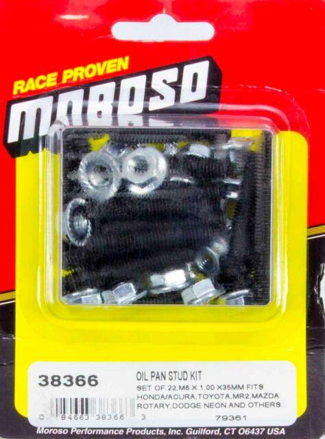 MOROSO 38366 Oil Pan Studs Black Oxide Hex Nut 6mm For Acura Dodge Honda Mazda