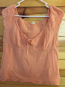 AMERICAN-EAGLE-Women-039-s-Juniors-Sheer-Peach-Top-Zips-on-the-Left-Side-8