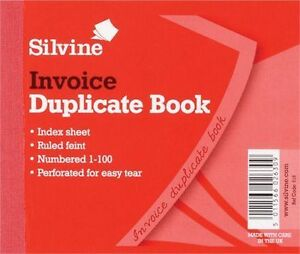 Silvine Duplicate Memo Book Ruled and Perforated Invoice 100 Pages 50 Sheets 616