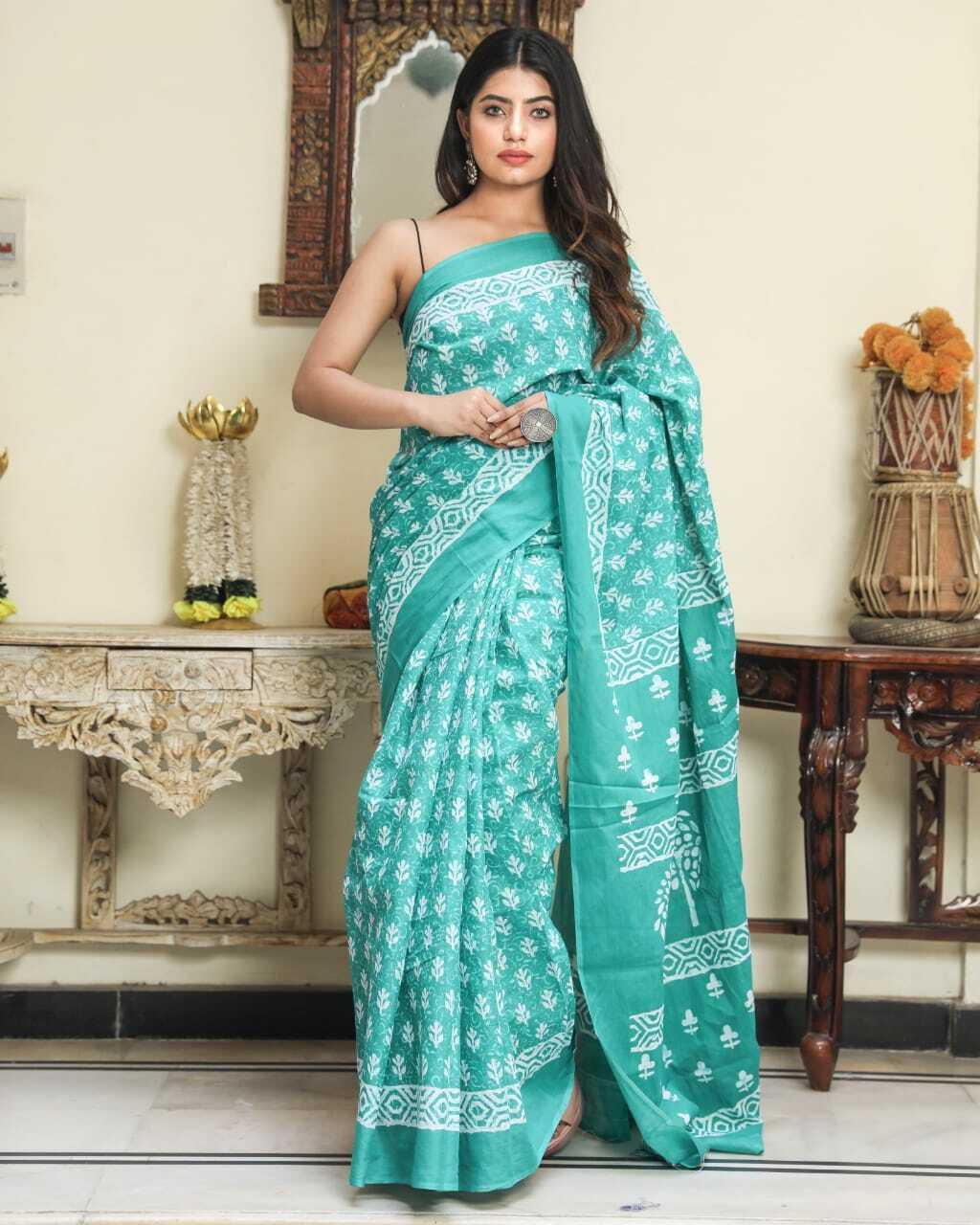 Jaipur Latest Designer Handblock Hand Printed Cotton Saree For Women With Blouse
