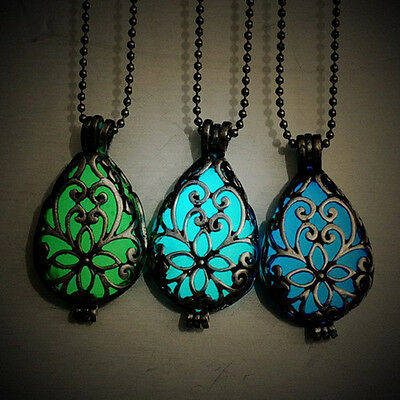 Fashion Pretty Hollow Magic Glow in the Dark Drop Pendant Necklaces Jewelry Gift