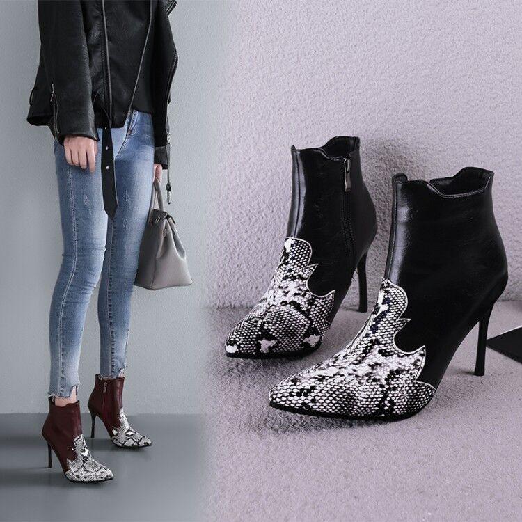 Womens Ankle Boots Snakeskin Pattern Stilettos High Heels Pointed Toe Zip D301