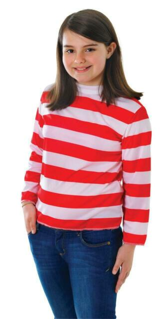 Child Red White Stripe Wally Fancy Dress Girls Boys Book Day Costume Outfit