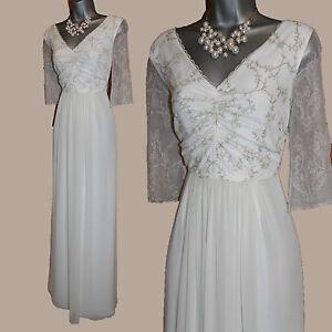 MONSOON-Ivory-With-Gold-Embellished-V-Neck-3-4-Sleeve-Wedding-Maxi-Dress-UK-12