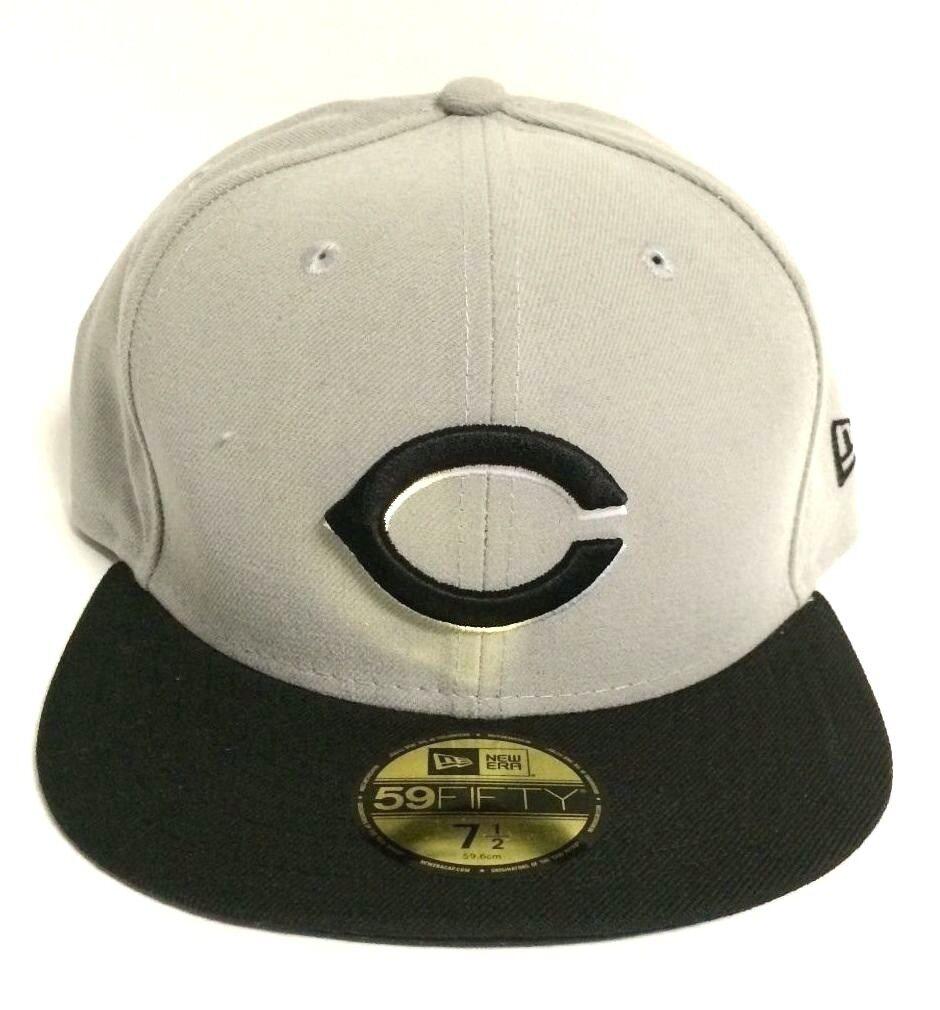New Era Cincinnati Hat Reds Grey Black 5950 Baseball Fitted Mens Cap 88bd7d