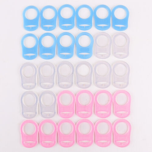 Multi Colors 15-50x Mam Baby Pacifier Holders Silicone Dummy Adapters Ring Clips