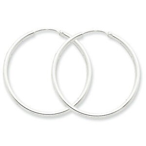 925-Sterling-Silver-2mm-x-35mm-Hollow-Hinged-Polished-Hoop-Earrings