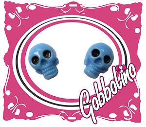 BLUE KITCH PLASTIC SKULL STUD EARRINGS FESTIVAL EMO GOTHIC ALT KAWAII