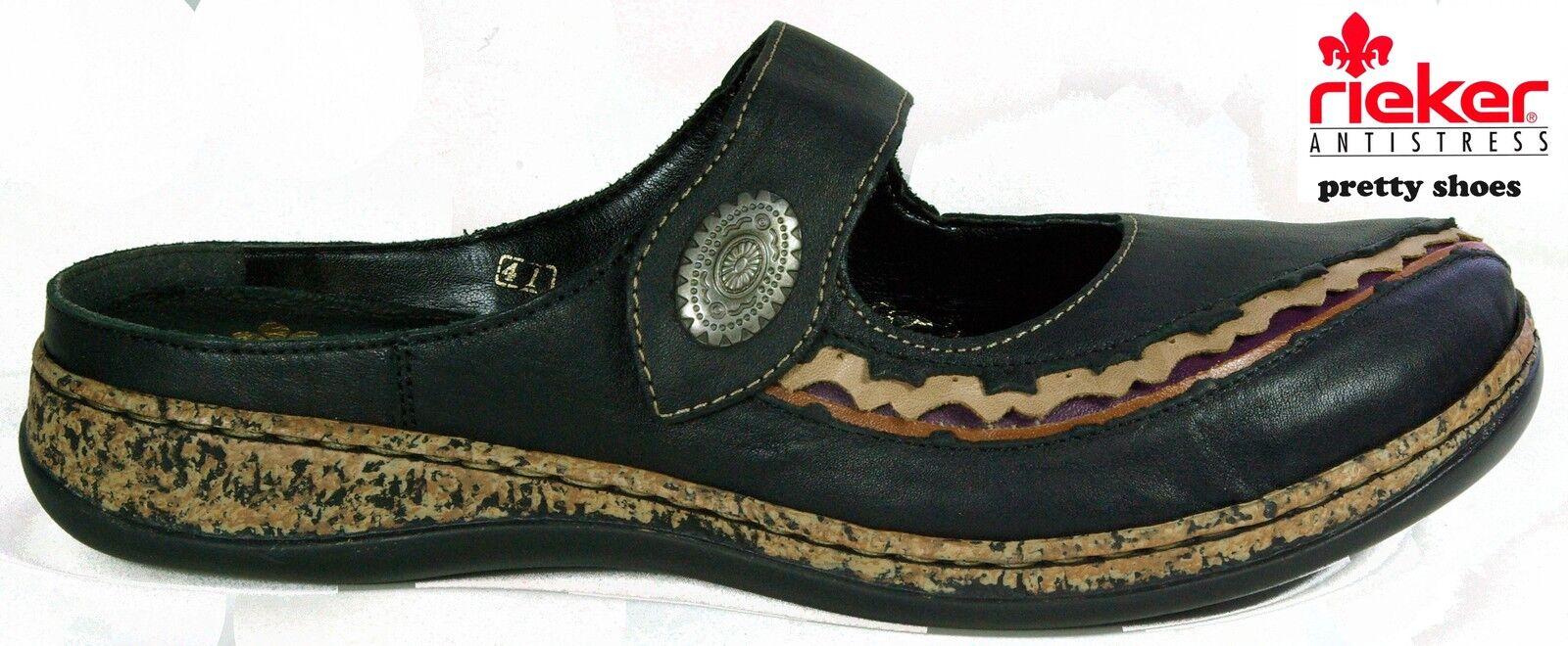 RIEKER Schuhe modische Pantoletten Gr.36 echt Leder schwarz Klettverschluss NEU