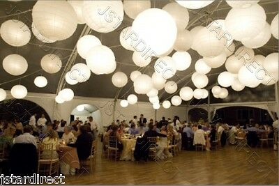 "10x6""+10x8""+5x10"" White Round Paper Lantern With 25 Led Light For Wedding Decor"