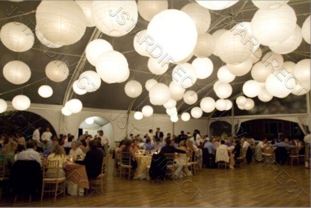 "20x8"" White Round Paper Lantern With 20 Led Light For Wedding Decor"