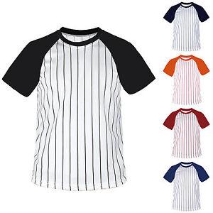 New-Mens-Baseball-Stripe-Raglan-Short-Sleeves-T-Shirt-Jersey-Round-Neck-Tee-Team