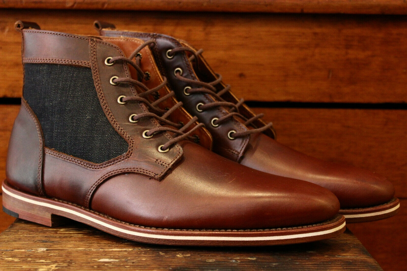 HELM Boots Men's Lace-up Leather Brown  - Sam Size 7.5