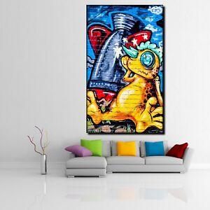Leinwand Bild Er Xxl Pop Art Graffiti Alien Mauer Monster Abstrakt