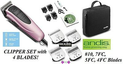 Andis PET DOG CAT Home Grooming Clipper Kit 4 blades,4 Guide Combs,Shears,Case+