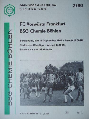 Programm 1980//81 BSG Chemie Böhlen Vorwärts Frankfurt
