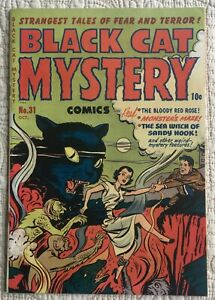 Golden Age BLACK CAT MYSTERY #31 VF- 7.5  Pre-Code Horror ~Great CAT cover!
