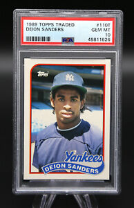 1989 Topps Traded DEION SANDERS #110T Rookie RC PSA 10 Gem Mint Yankees FSU ⚾️