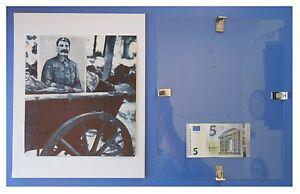 STALIN-ritratto-sul-carretto-Russia-URSS-Comunismo-quadro-cornice-vetro-cm-30x24