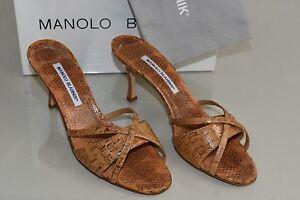 3bbb429e6 NEW Manolo Blahnik BETSY 70 Sandals Cork Patent Beige Natural Slides ...