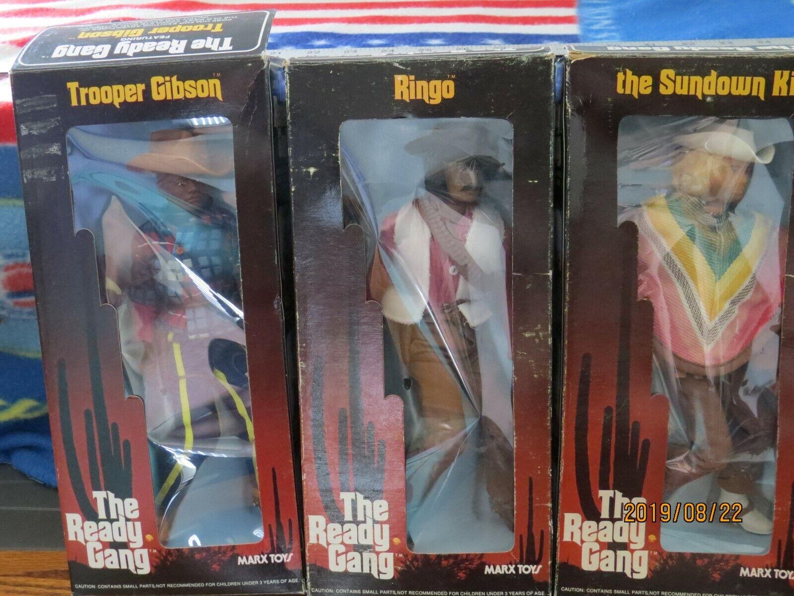 THE READY GANG SET OF THREE FIGURES BOXED RINGO - TROOPER GIBSON - SUNDOWN KID