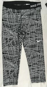 cb299b7b9203 NIKE Pro Women Training Capri Tights Dri-Fit Black Grey Geometric ...
