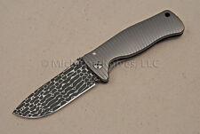 Lionsteel Monolithic Titanium Knife - SR2 w/ Lizard Damascus by Chad Nichols